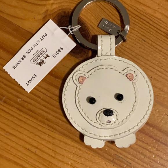 Coach Leather Polar Bear Keychain NWT